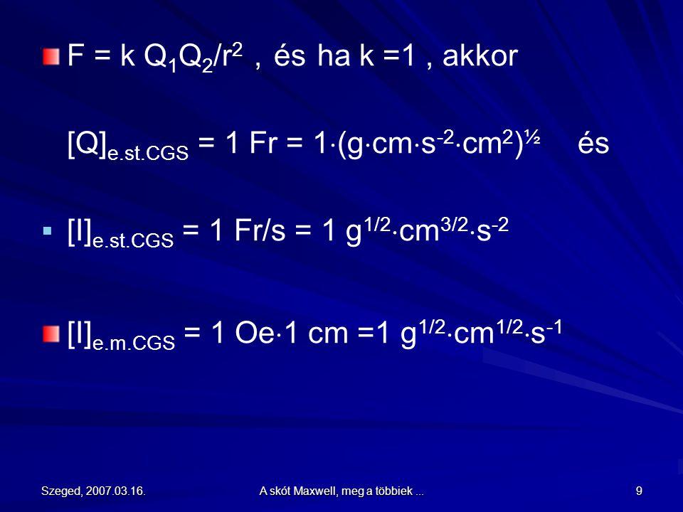 """Szeged, 2007.03.16.A skót Maxwell, meg a többiek...39 A híres Maxwell-egyenletek William Thomson (lord Kelvin): """"Megkapó és ötletes, de nem teljesen megingathatatlan feltevés."""
