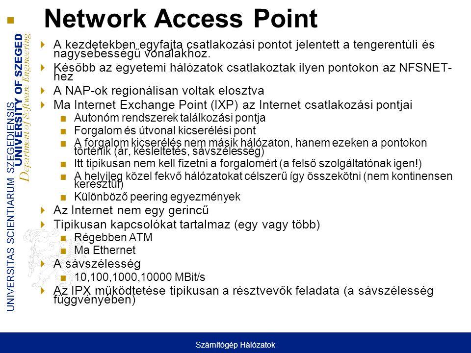 UNIVERSITY OF SZEGED D epartment of Software Engineering UNIVERSITAS SCIENTIARUM SZEGEDIENSIS Network Access Point  A kezdetekben egyfajta csatlakozási pontot jelentett a tengerentúli és nagysebességű vonalakhoz.