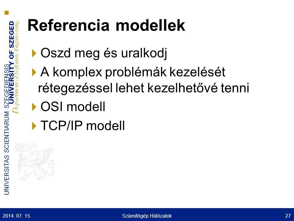 UNIVERSITY OF SZEGED D epartment of Software Engineering UNIVERSITAS SCIENTIARUM SZEGEDIENSIS Referencia modellek  Oszd meg és uralkodj  A komplex problémák kezelését rétegezéssel lehet kezelhetővé tenni  OSI modell  TCP/IP modell 2014.