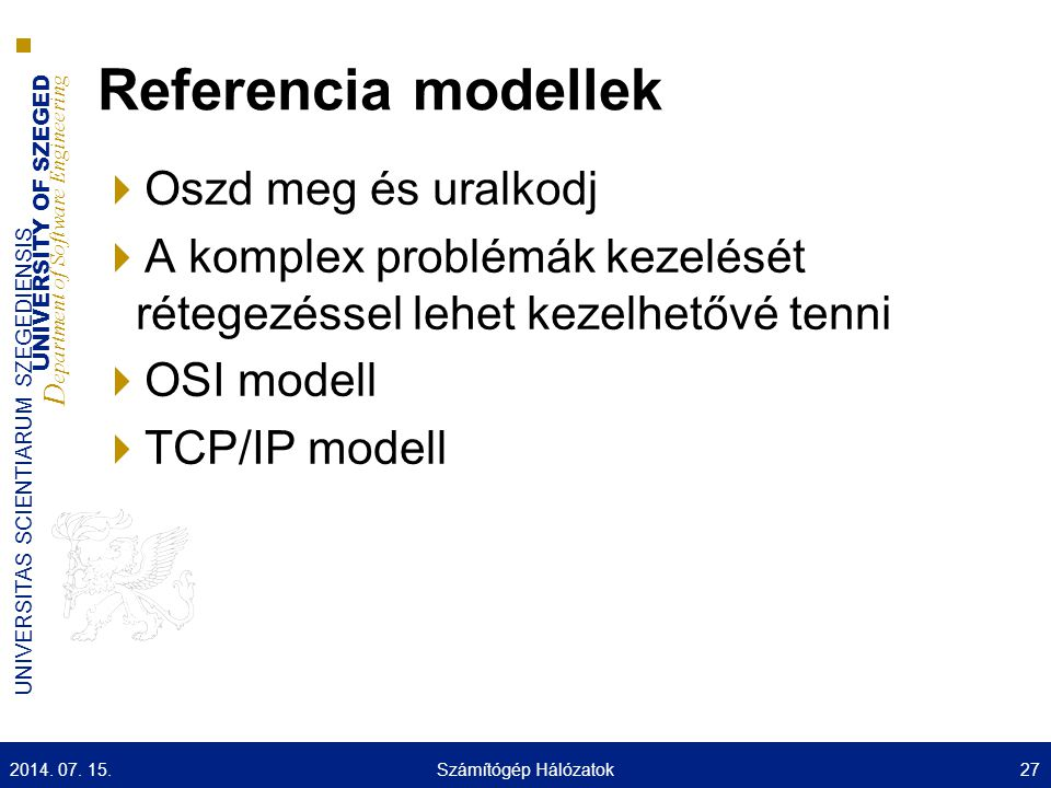 UNIVERSITY OF SZEGED D epartment of Software Engineering UNIVERSITAS SCIENTIARUM SZEGEDIENSIS Referencia modellek  Oszd meg és uralkodj  A komplex p