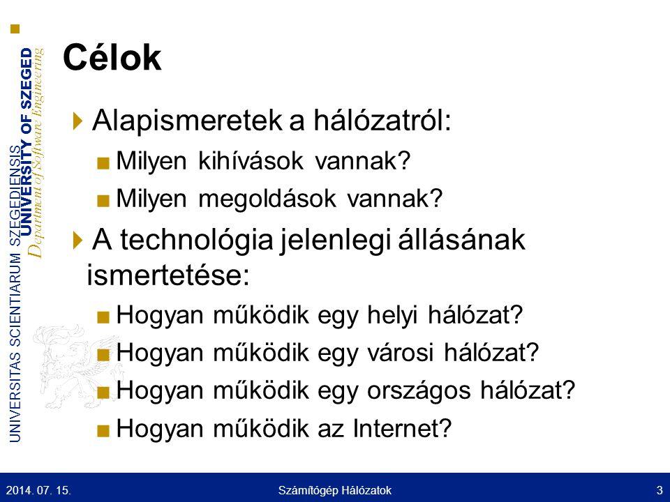 UNIVERSITY OF SZEGED D epartment of Software Engineering UNIVERSITAS SCIENTIARUM SZEGEDIENSIS Hungarnet Számítógép Hálózatok