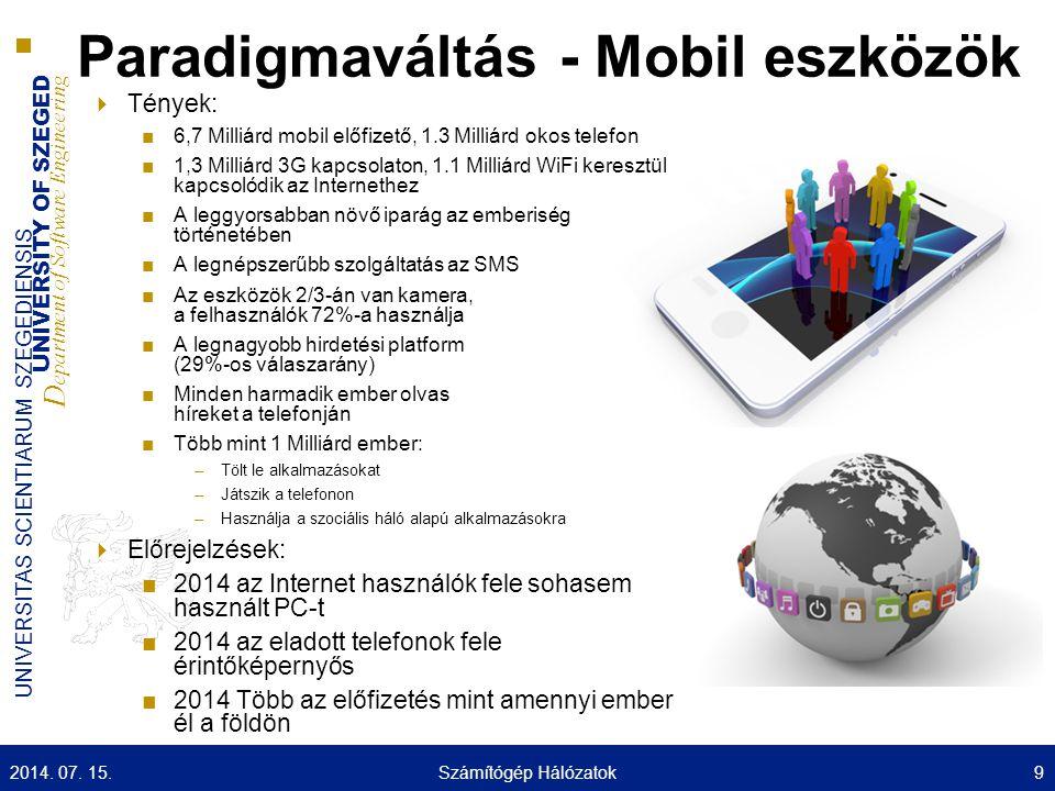 UNIVERSITY OF SZEGED D epartment of Software Engineering UNIVERSITAS SCIENTIARUM SZEGEDIENSIS Paradigmaváltás - Mobil eszközök  Tények: ■6,7 Milliárd mobil előfizető, 1.3 Milliárd okos telefon ■1,3 Milliárd 3G kapcsolaton, 1.1 Milliárd WiFi keresztül kapcsolódik az Internethez ■A leggyorsabban növő iparág az emberiség történetében ■A legnépszerűbb szolgáltatás az SMS ■Az eszközök 2/3-án van kamera, a felhasználók 72%-a használja ■A legnagyobb hirdetési platform (29%-os válaszarány) ■Minden harmadik ember olvas híreket a telefonján ■Több mint 1 Milliárd ember: –Tölt le alkalmazásokat –Játszik a telefonon –Használja a szociális háló alapú alkalmazásokra  Előrejelzések: ■2014 az Internet használók fele sohasem használt PC-t ■2014 az eladott telefonok fele érintőképernyős ■2014 Több az előfizetés mint amennyi ember él a földön 2014.