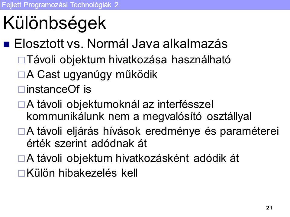 Fejlett Programozási Technológiák 2. 21 Különbségek Elosztott vs.