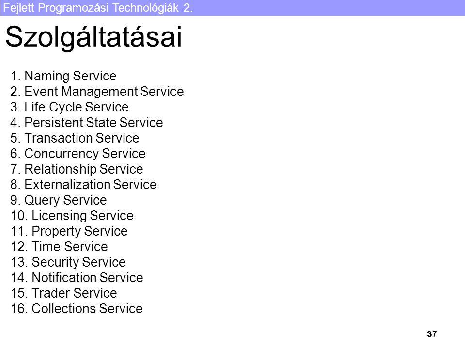 Fejlett Programozási Technológiák 2. 37 Szolgáltatásai 1.