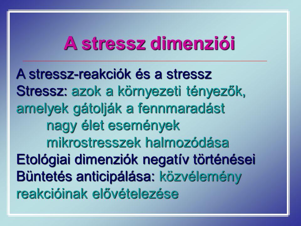 A stressz dimenziói A stressz-reakciók és a stressz Stressz: azok a környezeti tényezők, amelyek gátolják a fennmaradást nagy élet események mikrostresszek halmozódása Etológiai dimenziók negatív történései Büntetés anticipálása: közvélemény reakcióinak elővételezése