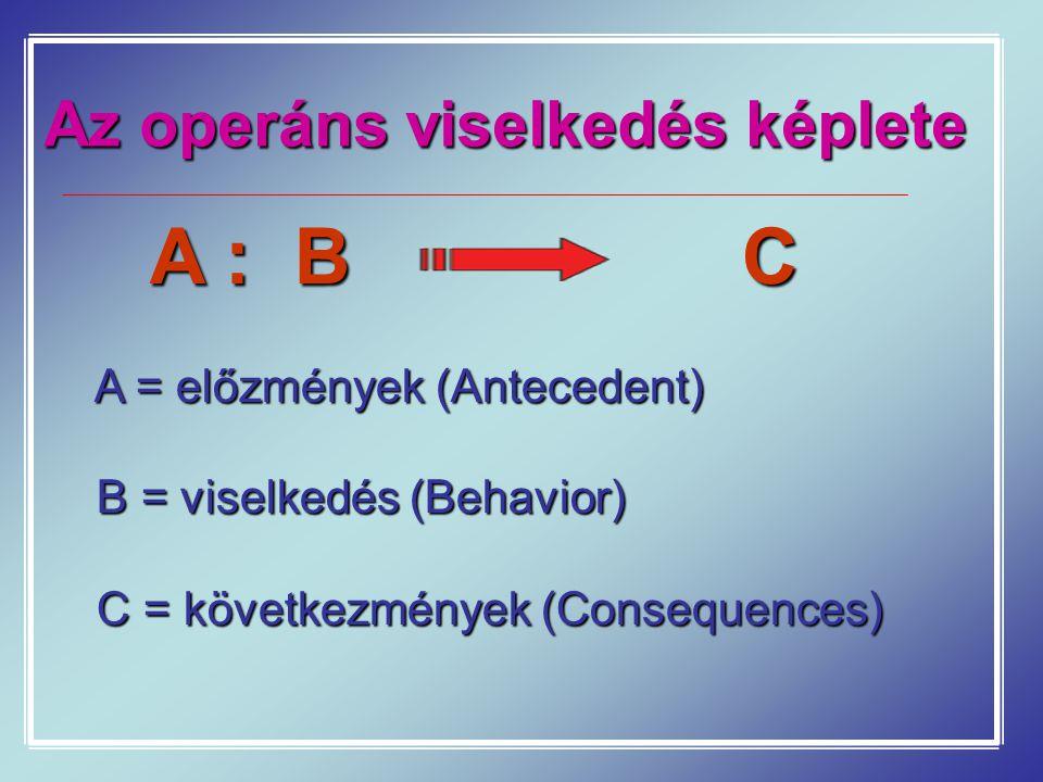 Az operáns viselkedés képlete A : B C A = előzmények (Antecedent) B = viselkedés (Behavior) B = viselkedés (Behavior) C = következmények (Consequences) C = következmények (Consequences)