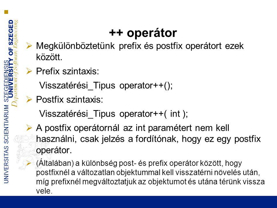 UNIVERSITY OF SZEGED D epartment of Software Engineering UNIVERSITAS SCIENTIARUM SZEGEDIENSIS -- operátor  Mint a ++ operátor…