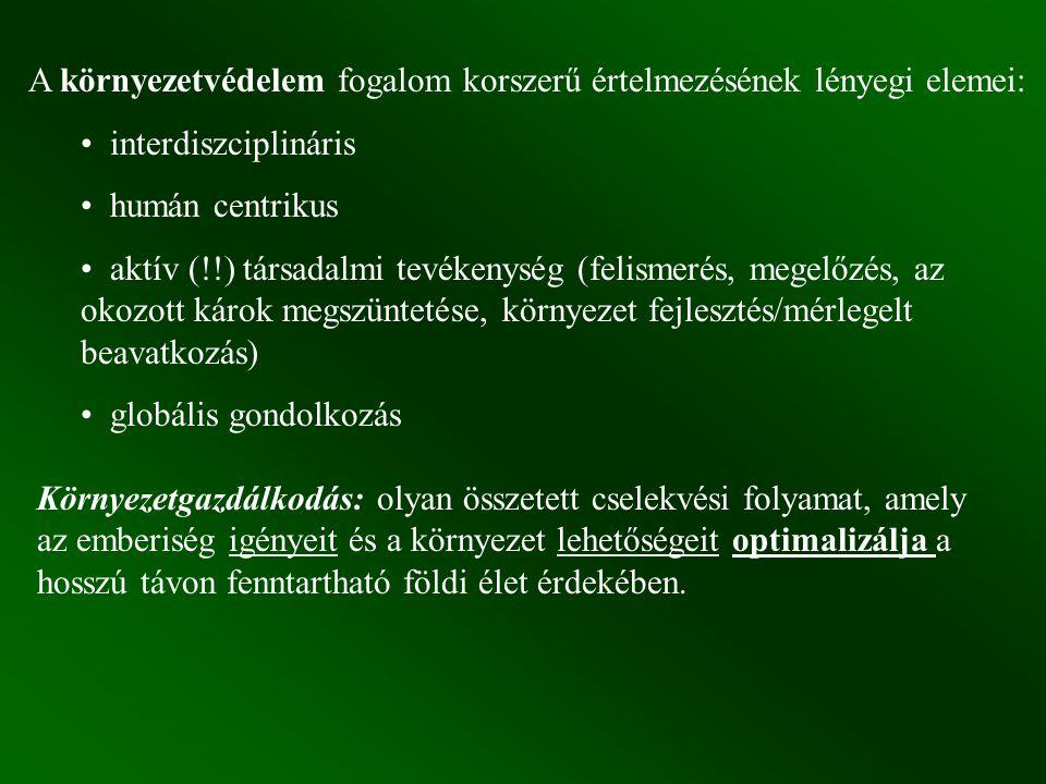 A környezetvédelem fogalom korszerű értelmezésének lényegi elemei: interdiszciplináris humán centrikus aktív (!!) társadalmi tevékenység (felismerés, megelőzés, az okozott károk megszüntetése, környezet fejlesztés/mérlegelt beavatkozás) globális gondolkozás Környezetgazdálkodás: olyan összetett cselekvési folyamat, amely az emberiség igényeit és a környezet lehetőségeit optimalizálja a hosszú távon fenntartható földi élet érdekében.