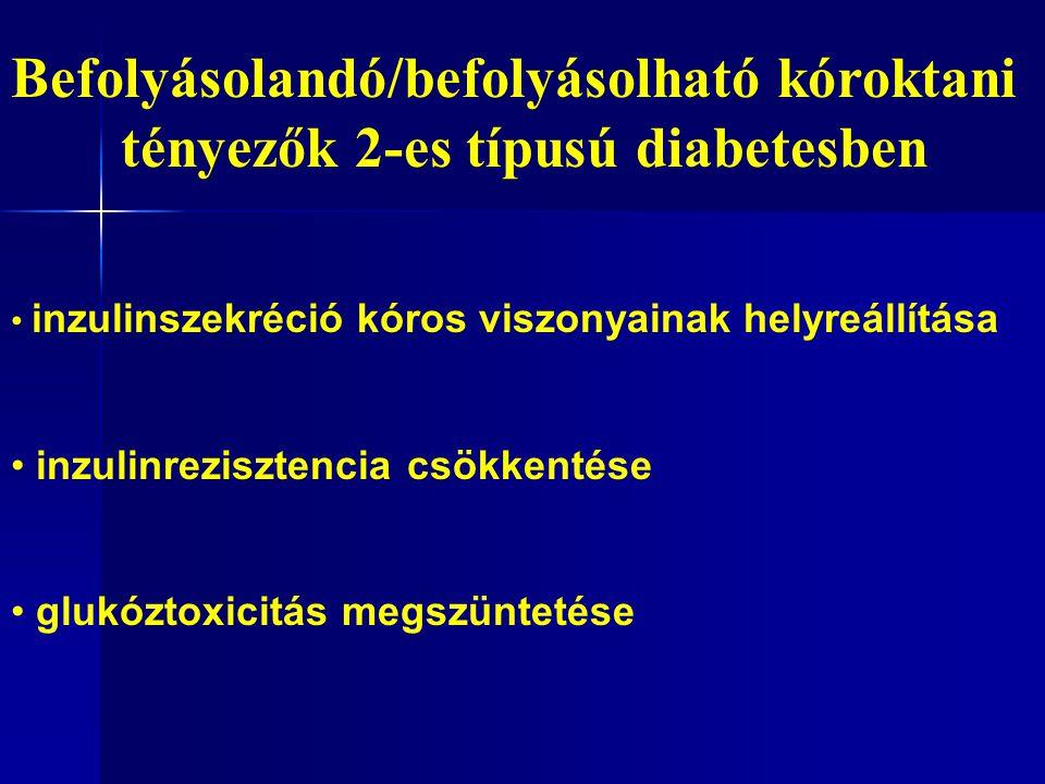 Befolyásolandó/befolyásolható kóroktani tényezők 2-es típusú diabetesben inzulinszekréció kóros viszonyainak helyreállítása inzulinrezisztencia csökkentése glukóztoxicitás megszüntetése