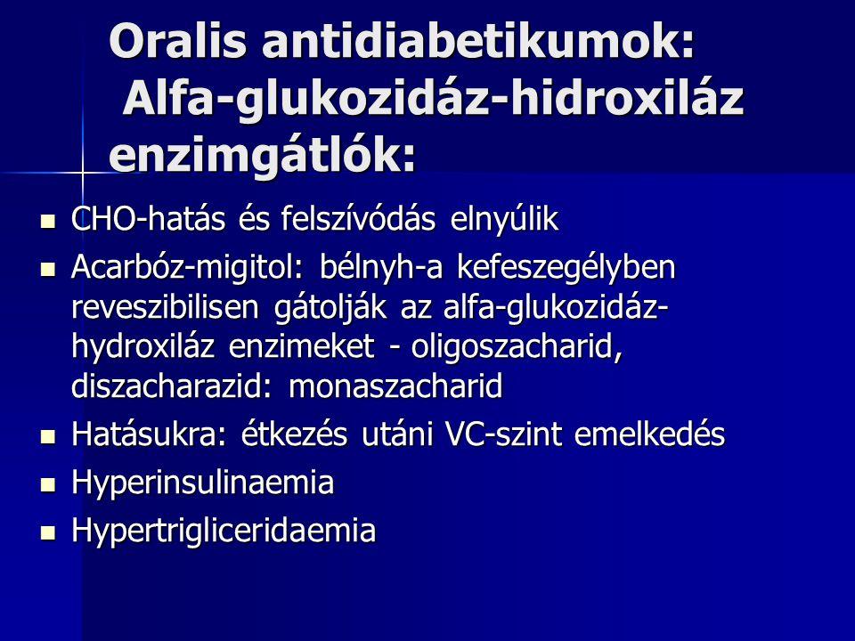 Oralis antidiabetikumok: Alfa-glukozidáz-hidroxiláz enzimgátlók: CHO-hatás és felszívódás elnyúlik CHO-hatás és felszívódás elnyúlik Acarbóz-migitol: bélnyh-a kefeszegélyben reveszibilisen gátolják az alfa-glukozidáz- hydroxiláz enzimeket - oligoszacharid, diszacharazid: monaszacharid Acarbóz-migitol: bélnyh-a kefeszegélyben reveszibilisen gátolják az alfa-glukozidáz- hydroxiláz enzimeket - oligoszacharid, diszacharazid: monaszacharid Hatásukra: étkezés utáni VC-szint emelkedés Hatásukra: étkezés utáni VC-szint emelkedés Hyperinsulinaemia Hyperinsulinaemia Hypertrigliceridaemia Hypertrigliceridaemia