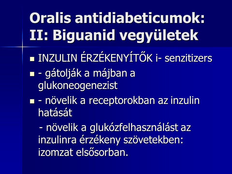 Oralis antidiabeticumok: II: Biguanid vegyületek INZULIN ÉRZÉKENYÍTŐK i- senzitizers INZULIN ÉRZÉKENYÍTŐK i- senzitizers - gátolják a májban a glukoneogenezist - gátolják a májban a glukoneogenezist - növelik a receptorokban az inzulin hatását - növelik a receptorokban az inzulin hatását - növelik a glukózfelhasználást az inzulinra érzékeny szövetekben: izomzat elsősorban.
