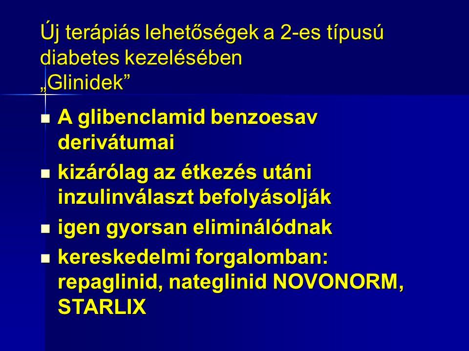 """Új terápiás lehetőségek a 2-es típusú diabetes kezelésében """"Glinidek A glibenclamid benzoesav derivátumai A glibenclamid benzoesav derivátumai kizárólag az étkezés utáni inzulinválaszt befolyásolják kizárólag az étkezés utáni inzulinválaszt befolyásolják igen gyorsan eliminálódnak igen gyorsan eliminálódnak kereskedelmi forgalomban: repaglinid, nateglinid NOVONORM, STARLIX kereskedelmi forgalomban: repaglinid, nateglinid NOVONORM, STARLIX"""