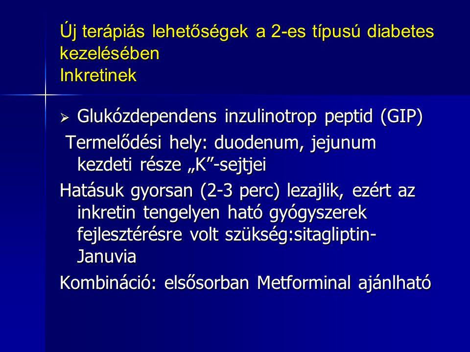 """Új terápiás lehetőségek a 2-es típusú diabetes kezelésében Inkretinek  Glukózdependens inzulinotrop peptid (GIP) Termelődési hely: duodenum, jejunum kezdeti része """"K -sejtjei Termelődési hely: duodenum, jejunum kezdeti része """"K -sejtjei Hatásuk gyorsan (2-3 perc) lezajlik, ezért az inkretin tengelyen ható gyógyszerek fejlesztérésre volt szükség:sitagliptin- Januvia Kombináció: elsősorban Metforminal ajánlható"""