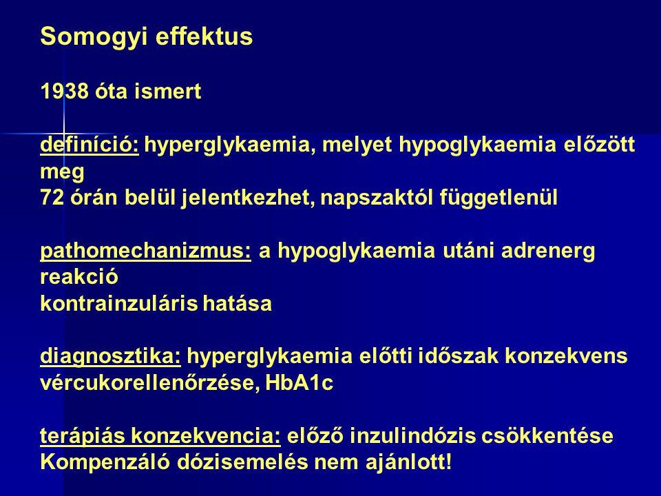 Somogyi effektus 1938 óta ismert definíció: hyperglykaemia, melyet hypoglykaemia előzött meg 72 órán belül jelentkezhet, napszaktól függetlenül pathomechanizmus: a hypoglykaemia utáni adrenerg reakció kontrainzuláris hatása diagnosztika: hyperglykaemia előtti időszak konzekvens vércukorellenőrzése, HbA1c terápiás konzekvencia: előző inzulindózis csökkentése Kompenzáló dózisemelés nem ajánlott!