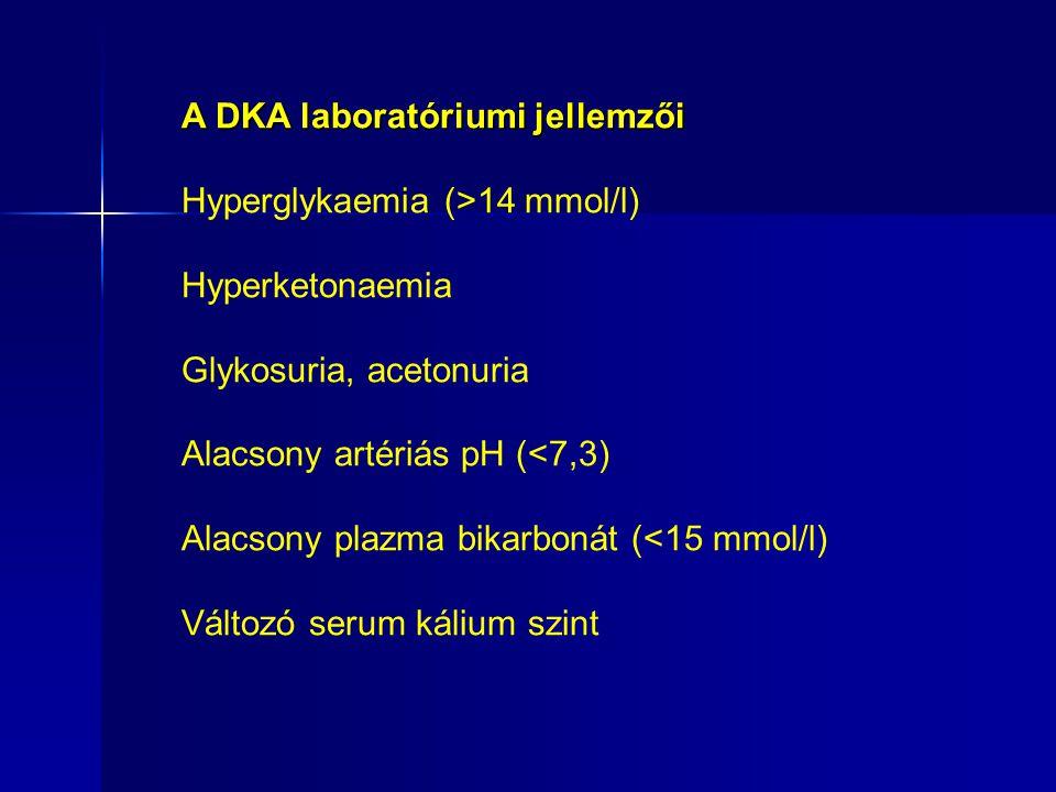 A DKA laboratóriumi jellemzői Hyperglykaemia (>14 mmol/l) Hyperketonaemia Glykosuria, acetonuria Alacsony artériás pH (<7,3) Alacsony plazma bikarbonát (<15 mmol/l) Változó serum kálium szint