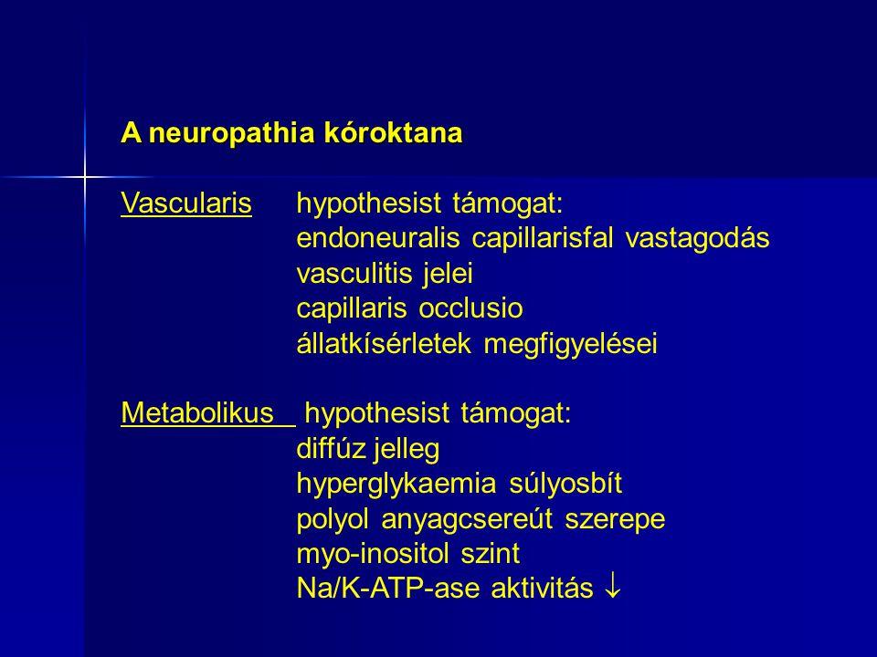 A neuropathia kóroktana Vascularis hypothesist támogat: endoneuralis capillarisfal vastagodás vasculitis jelei capillaris occlusio állatkísérletek megfigyelései Metabolikus hypothesist támogat: diffúz jelleg hyperglykaemia súlyosbít polyol anyagcsereút szerepe myo-inositol szint Na/K-ATP-ase aktivitás 