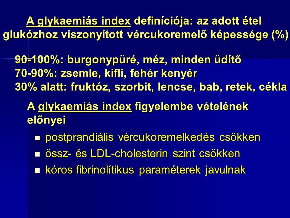 A glykaemiás index figyelembe vételének előnyei postprandiális vércukoremelkedés csökken postprandiális vércukoremelkedés csökken össz- és LDL-cholesterin szint csökken össz- és LDL-cholesterin szint csökken kóros fibrinolítikus paraméterek javulnak kóros fibrinolítikus paraméterek javulnak A glykaemiás index definíciója: az adott étel glukózhoz viszonyított vércukoremelő képessége (%) 90-100%: burgonypüré, méz, minden üdítő 70-90%: zsemle, kifli, fehér kenyér 30% alatt: fruktóz, szorbit, lencse, bab, retek, cékla