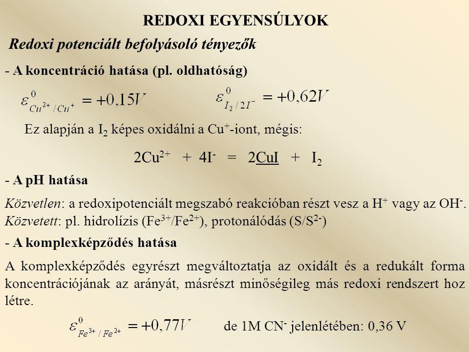 REDOXI EGYENSÚLYOK Jodometria - Redukciós mérések - vizek oxigéntartalma + MnCl 2 + KOH  Mn(OH) 2  MnO(OH) 2  I 2 - jódsokszorozó eljárások + Cl 2 -os víz: I - + 3Cl 2 + 3H 2 O = IO 3 - + 6Cl - + 6H + klóros víz fölösleg kiforralása, vagy kémiai közömbösítése Cl 2 + CN - = ClCN + Cl - ClCN + H 2 O = HCNO + H + + Cl - HCNO + 2H 2 O = NH 4 HCO 3 + I - : IO 3 - + 5I - + 6H + = 3I 2 + 3H 2 O - I - meghatározás I + -vá való oxidációval I - = I + + 2e - a I + megkötése cc.