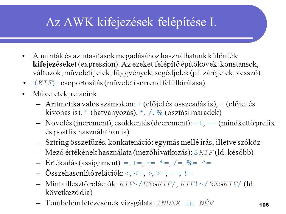 106 Az AWK kifejezések felépítése I. A minták és az utasítások megadásához használhatunk különféle kifejezéseket (expression). Az ezeket felépítő épít