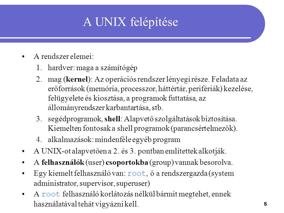 5 A UNIX felépítése A rendszer elemei: 1.hardver: maga a számítógép 2.mag (kernel): Az operációs rendszer lényegi része. Feladata az erőforrások (memó