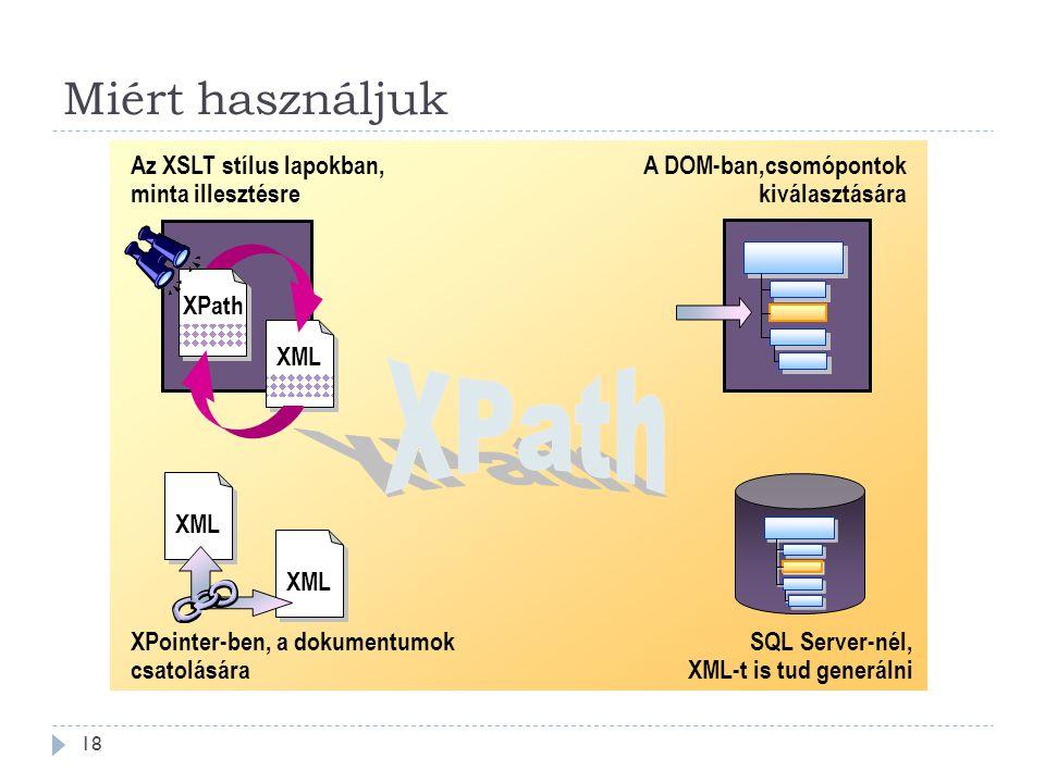 Miért használjuk 18 Az XSLT stílus lapokban, minta illesztésre SQL Server-nél, XML-t is tud generálni XPointer-ben, a dokumentumok csatolására A DOM-ban,csomópontok kiválasztására XML XPath