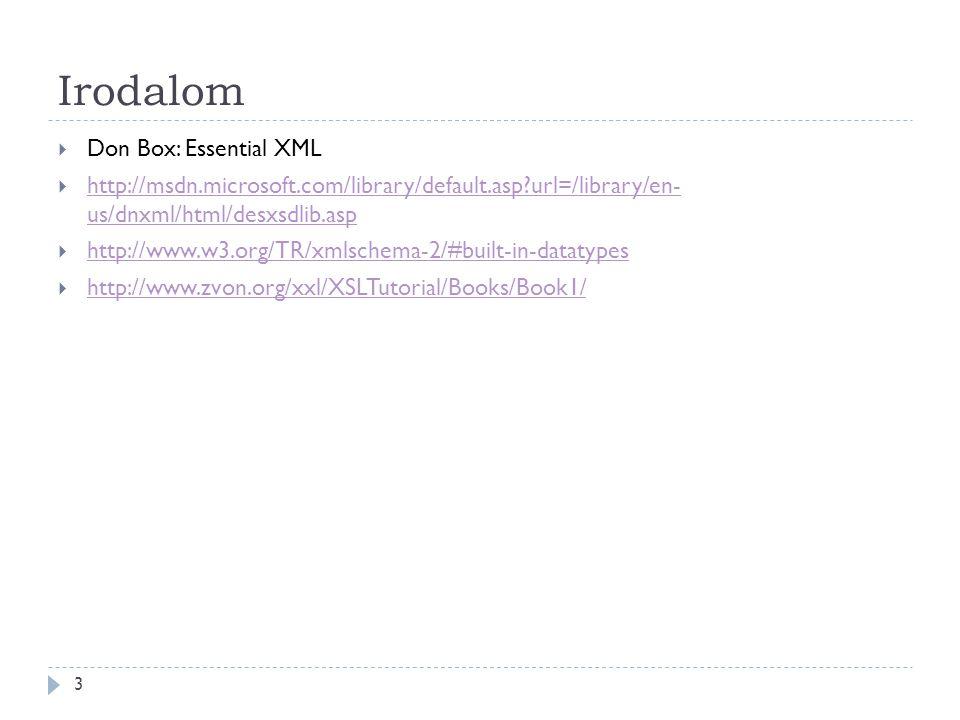 Irodalom 3  Don Box: Essential XML  http://msdn.microsoft.com/library/default.asp?url=/library/en- us/dnxml/html/desxsdlib.asp http://msdn.microsoft.com/library/default.asp?url=/library/en- us/dnxml/html/desxsdlib.asp  http://www.w3.org/TR/xmlschema-2/#built-in-datatypes http://www.w3.org/TR/xmlschema-2/#built-in-datatypes  http://www.zvon.org/xxl/XSLTutorial/Books/Book1/ http://www.zvon.org/xxl/XSLTutorial/Books/Book1/