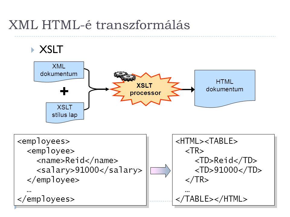 XML HTML-é transzformálás 36  XSLT XML dokumentum XSLT stílus lap + XSLT processor HTML dokumentum Reid 91000 … Reid 91000 … Reid 91000 … Reid 91000 …
