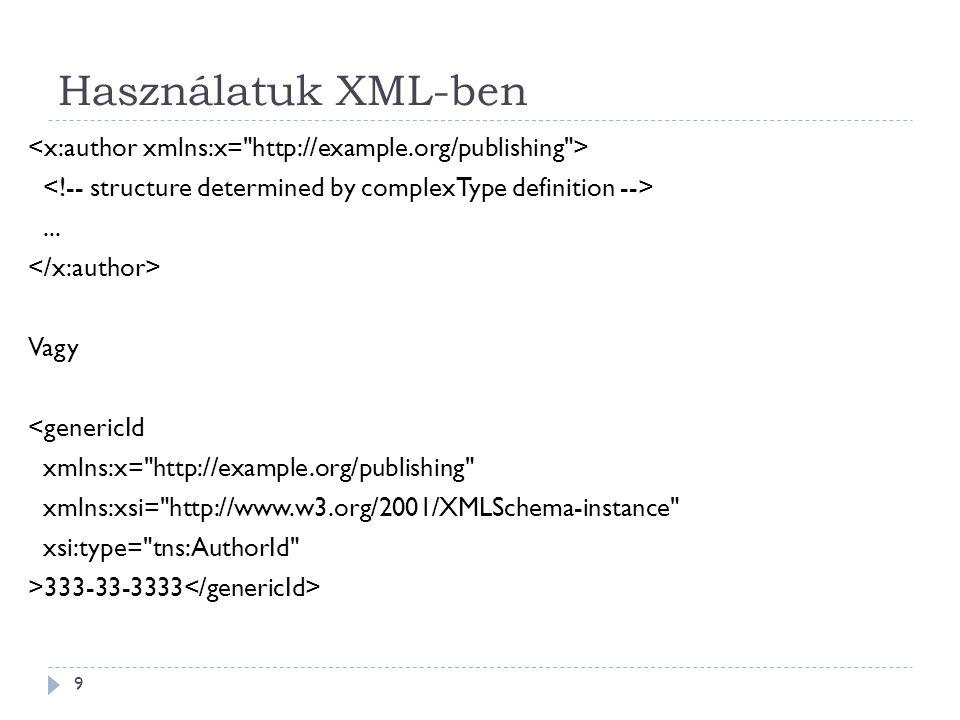 Használatuk XML-ben 9...