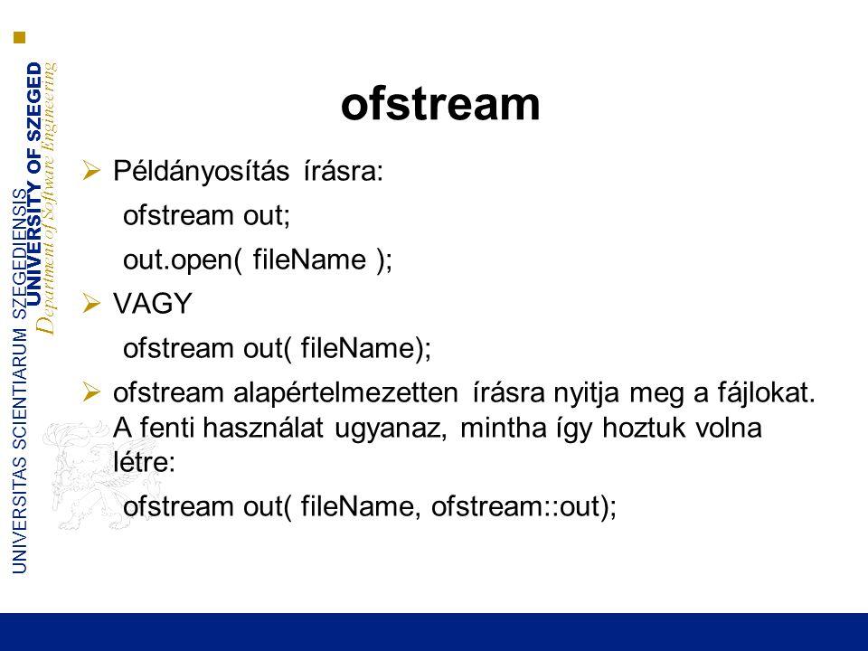 UNIVERSITY OF SZEGED D epartment of Software Engineering UNIVERSITAS SCIENTIARUM SZEGEDIENSIS ofstream  Példányosítás írásra: ofstream out; out.open( fileName );  VAGY ofstream out( fileName);  ofstream alapértelmezetten írásra nyitja meg a fájlokat.