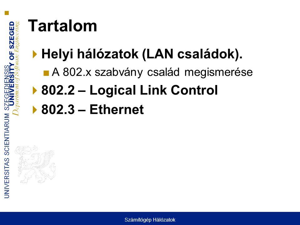 UNIVERSITY OF SZEGED D epartment of Software Engineering UNIVERSITAS SCIENTIARUM SZEGEDIENSIS Tartalom  Helyi hálózatok (LAN családok). ■A 802.x szab