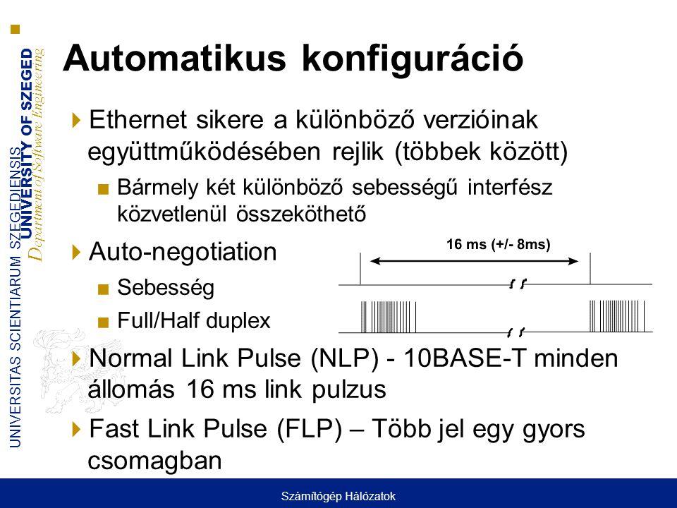 UNIVERSITY OF SZEGED D epartment of Software Engineering UNIVERSITAS SCIENTIARUM SZEGEDIENSIS Automatikus konfiguráció  Ethernet sikere a különböző v