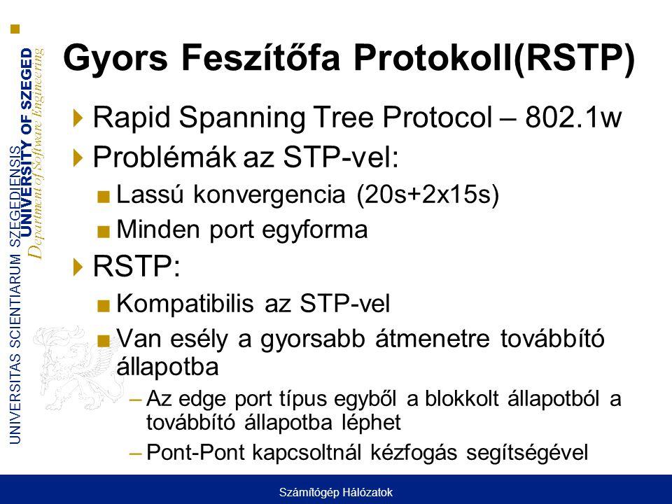 UNIVERSITY OF SZEGED D epartment of Software Engineering UNIVERSITAS SCIENTIARUM SZEGEDIENSIS Gyors Feszítőfa Protokoll(RSTP)  Rapid Spanning Tree Pr