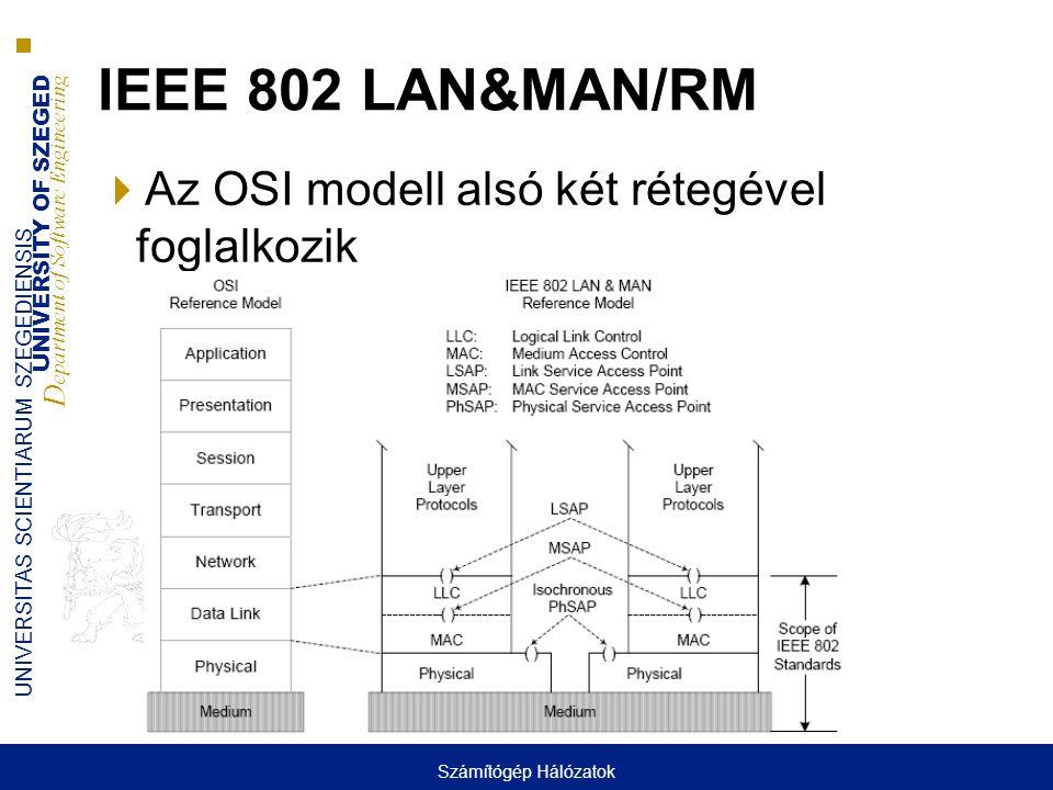 UNIVERSITY OF SZEGED D epartment of Software Engineering UNIVERSITAS SCIENTIARUM SZEGEDIENSIS Ethernet keret  Fontos mezők ■Keret kezdet ■Cím mezők ■Típus/hossz ■Adat mező ■Hiba detektáló mező  IEEE 802.3 keret (LLC is van, OSI) ■Hossz ha kisebb mint 0600 hex, egyébként típus  Ethernet II.