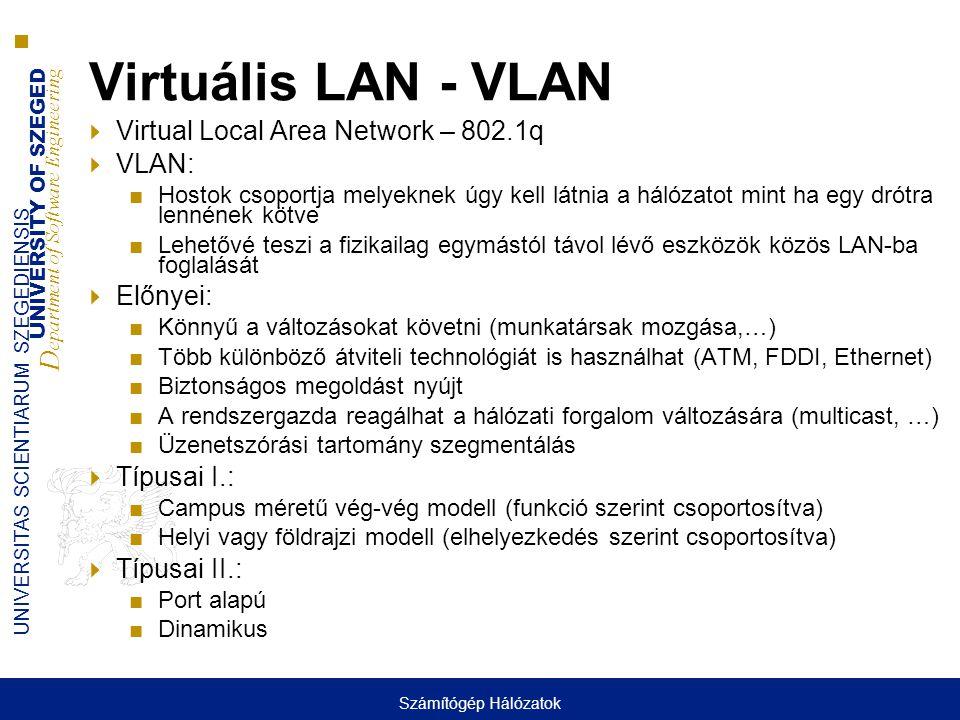 UNIVERSITY OF SZEGED D epartment of Software Engineering UNIVERSITAS SCIENTIARUM SZEGEDIENSIS Virtuális LAN - VLAN  Virtual Local Area Network – 802.