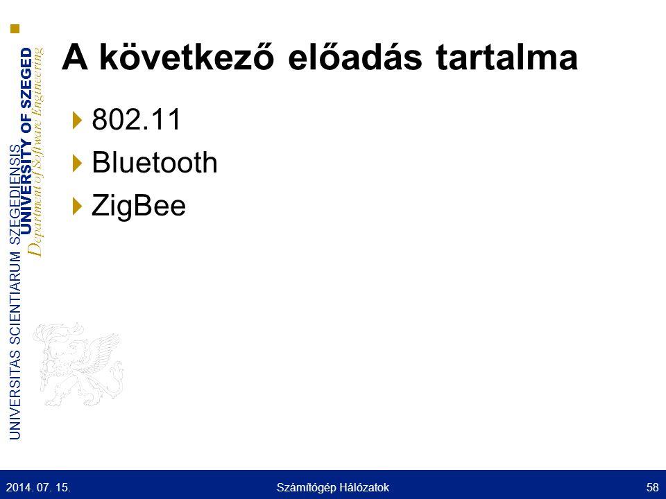 UNIVERSITY OF SZEGED D epartment of Software Engineering UNIVERSITAS SCIENTIARUM SZEGEDIENSIS A következő előadás tartalma  802.11  Bluetooth  ZigB