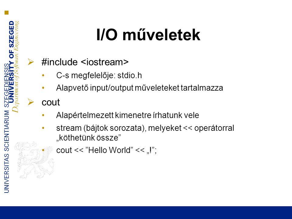 UNIVERSITY OF SZEGED D epartment of Software Engineering UNIVERSITAS SCIENTIARUM SZEGEDIENSIS I/O műveletek  #include C-s megfelelője: stdio.h Alapve