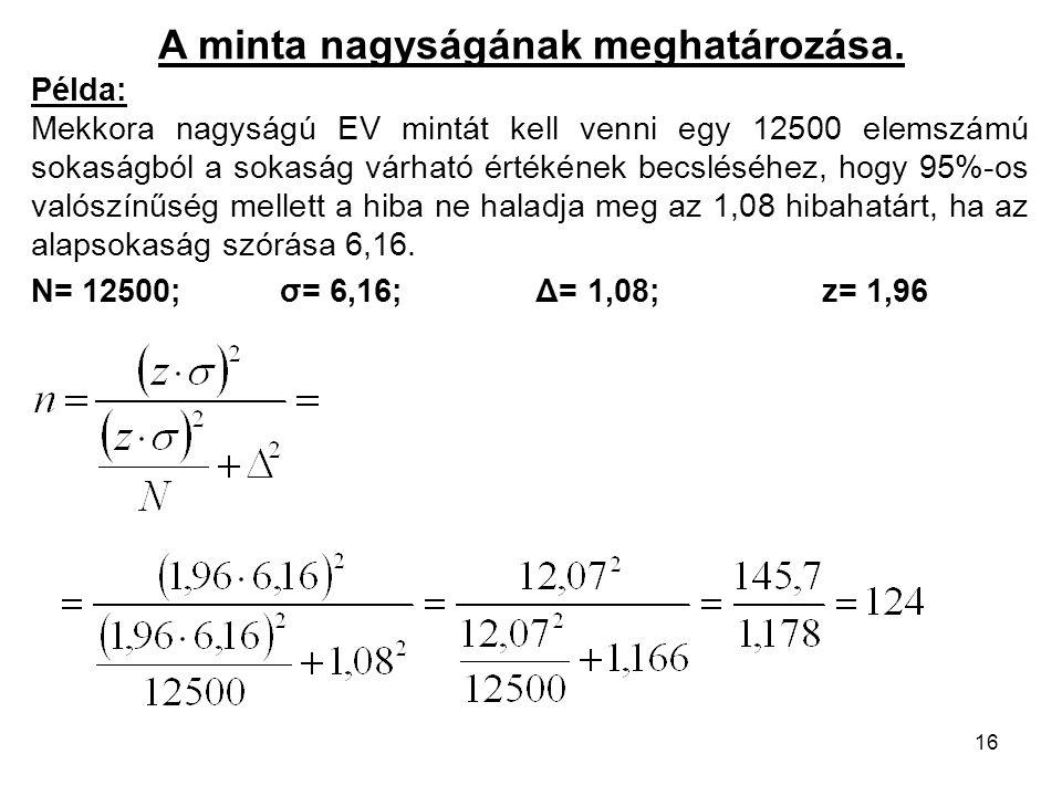 16 A minta nagyságának meghatározása. Példa: Mekkora nagyságú EV mintát kell venni egy 12500 elemszámú sokaságból a sokaság várható értékének becslésé