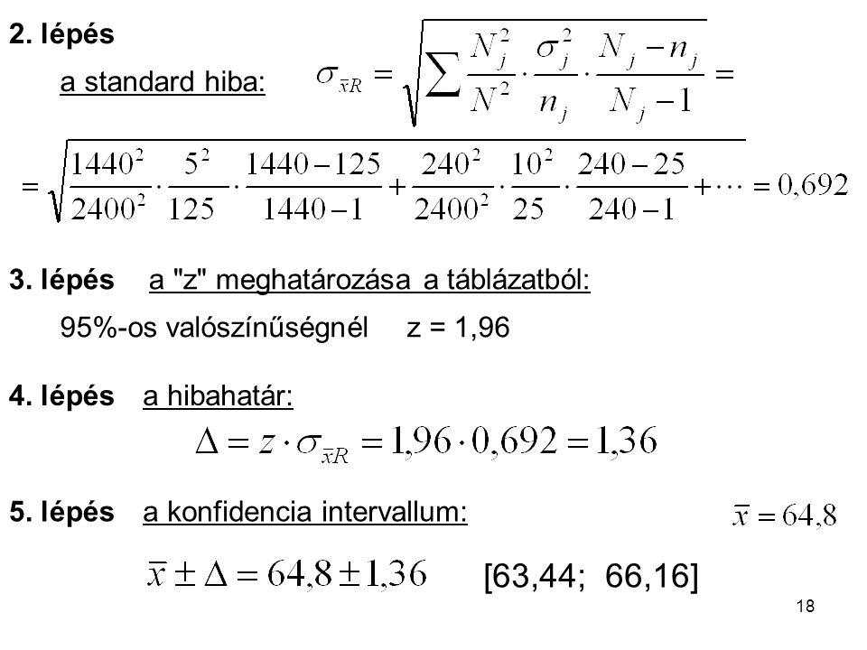 18 a standard hiba: 2. lépés 3. lépés a konfidencia intervallum: 4. lépés 5. lépés 95%-os valószínűségnélz = 1,96 a