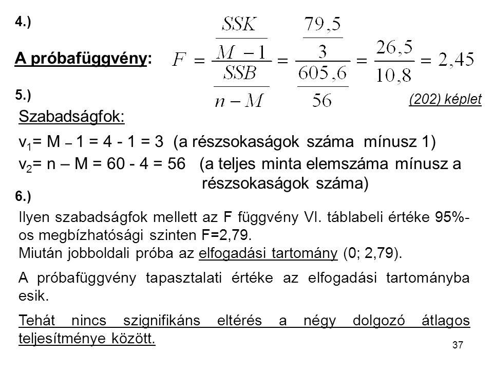 37 (202) képlet Ilyen szabadságfok mellett az F függvény VI. táblabeli értéke 95%- os megbízhatósági szinten F=2,79. Miután jobboldali próba az elfoga