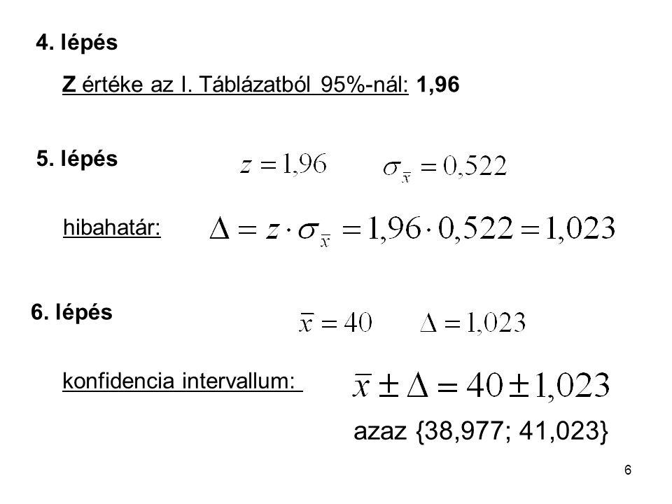 6 4. lépés 6. lépés 5. lépés Z értéke az I. Táblázatból 95%-nál: 1,96 hibahatár: konfidencia intervallum: azaz {38,977; 41,023}