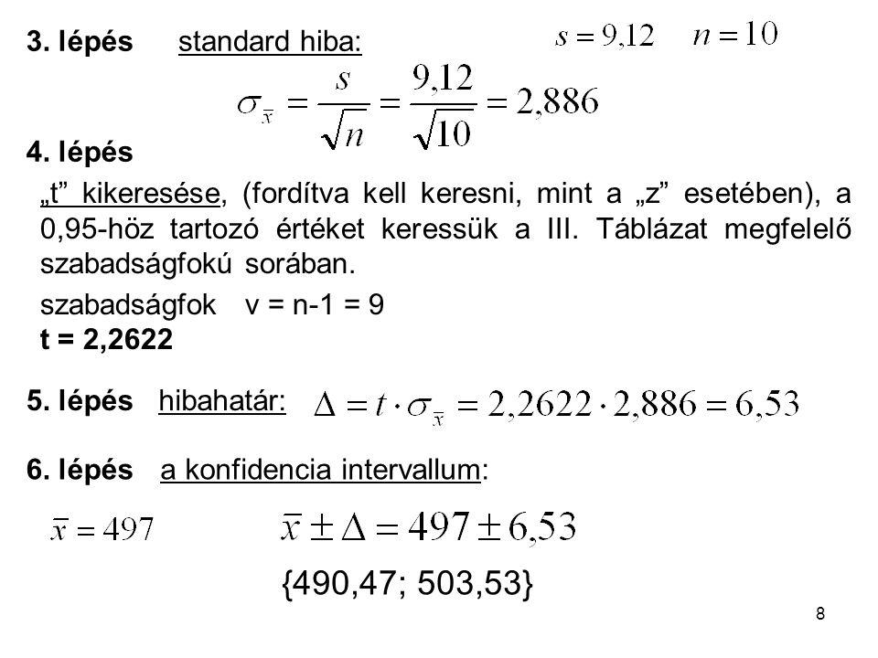 """8 a konfidencia intervallum: """"t"""" kikeresése, (fordítva kell keresni, mint a """"z"""" esetében), a 0,95-höz tartozó értéket keressük a III. Táblázat megfele"""