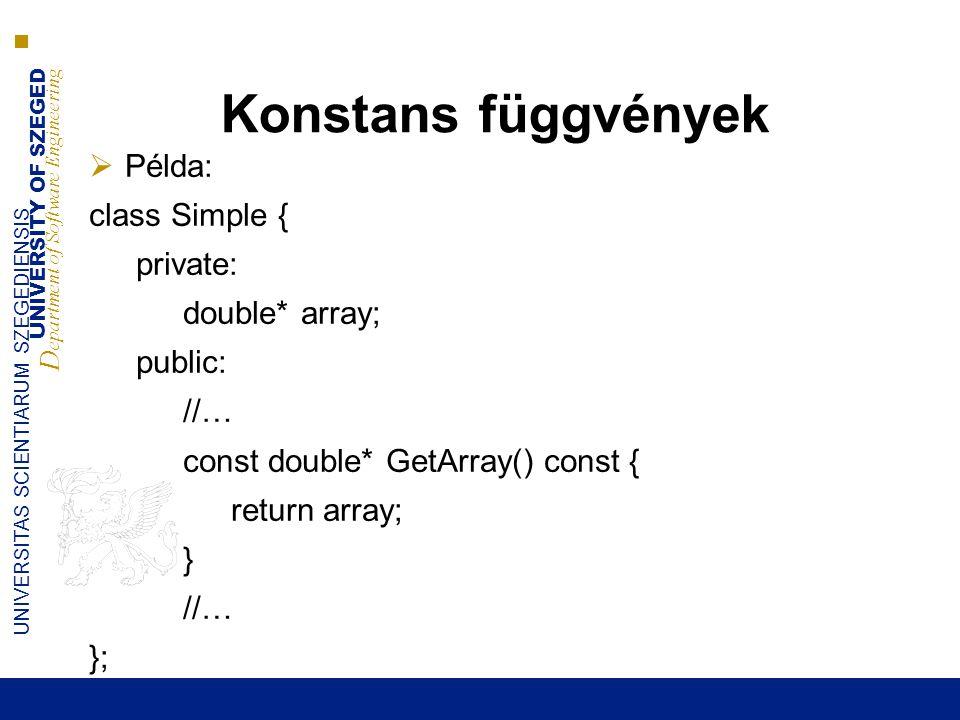 UNIVERSITY OF SZEGED D epartment of Software Engineering UNIVERSITAS SCIENTIARUM SZEGEDIENSIS Konstans függvények  Példa: class Simple { private: double* array; public: //… const double* GetArray() const { return array; } //… };