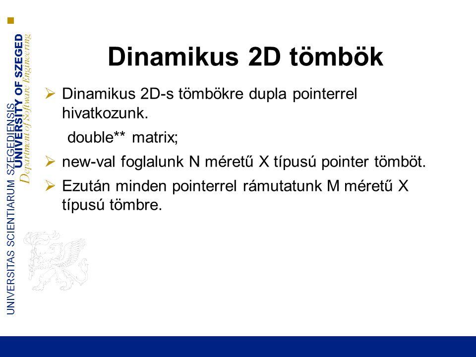 UNIVERSITY OF SZEGED D epartment of Software Engineering UNIVERSITAS SCIENTIARUM SZEGEDIENSIS Dinamikus 2D tömbök  Dinamikus 2D-s tömbökre dupla pointerrel hivatkozunk.