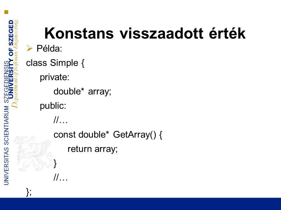 UNIVERSITY OF SZEGED D epartment of Software Engineering UNIVERSITAS SCIENTIARUM SZEGEDIENSIS Konstans visszaadott érték  Példa: class Simple { private: double* array; public: //… const double* GetArray() { return array; } //… };