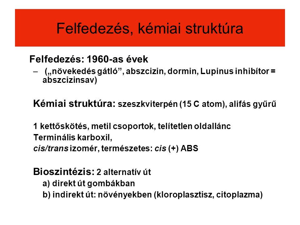 """Felfedezés, kémiai struktúra Felfedezés: 1960-as évek – (""""növekedés gátló"""", abszcizin, dormin, Lupinus inhibítor = abszcizinsav) Kémiai struktúra: sze"""