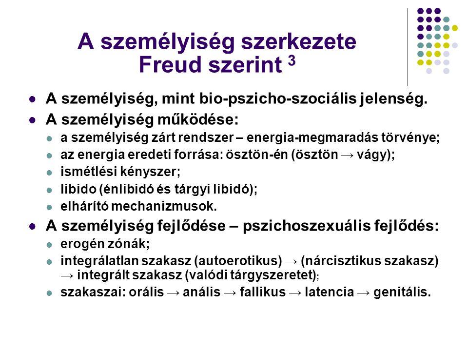 A személyiség szerkezete Freud szerint 3 A személyiség, mint bio-pszicho-szociális jelenség. A személyiség működése: a személyiség zárt rendszer – ene