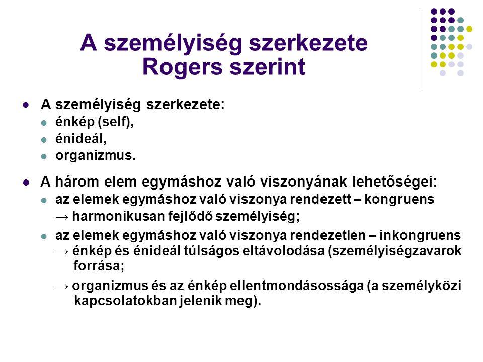 A személyiség szerkezete Rogers szerint  A személyiség szerkezete: énkép (self), énideál, organizmus. A három elem egymáshoz való viszonyának lehetős