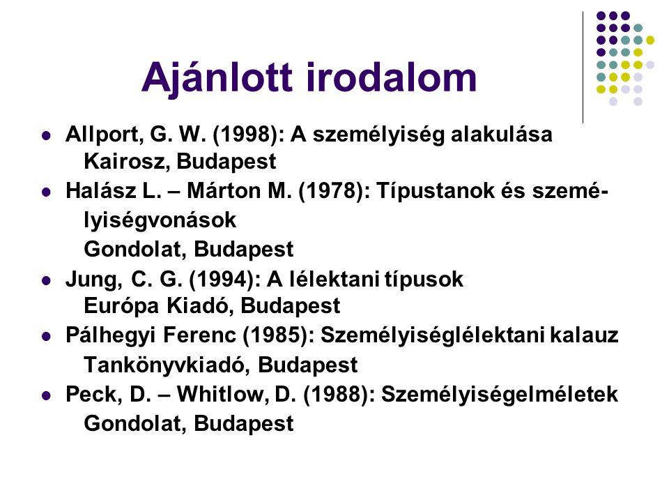 Ajánlott irodalom Allport, G. W. (1998): A személyiség alakulása Kairosz, Budapest Halász L. – Márton M. (1978): Típustanok és szemé- lyiségvonások Go