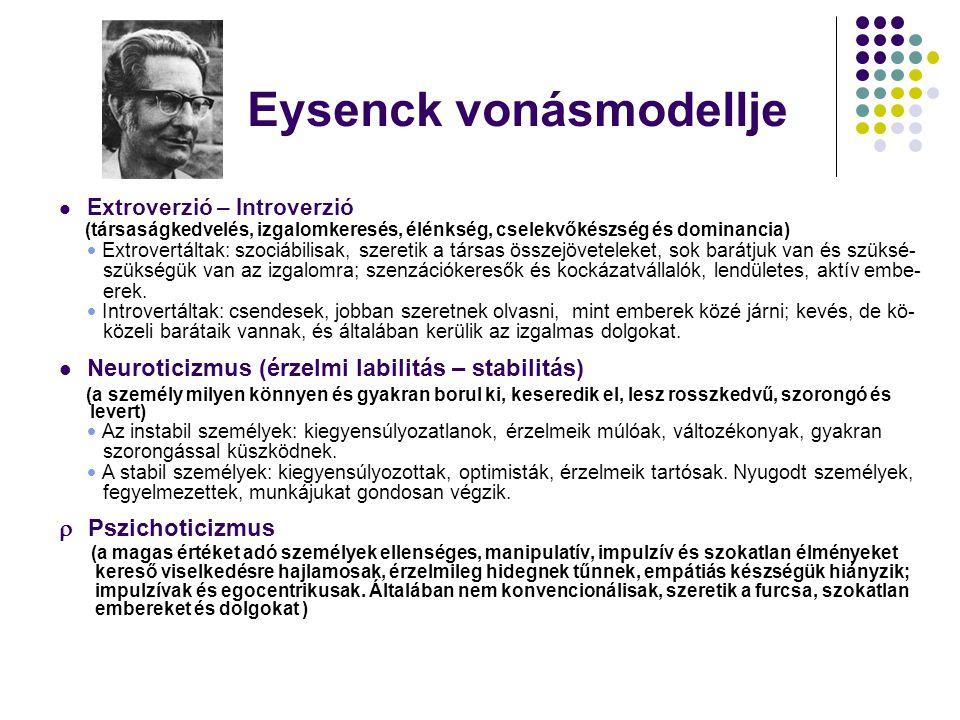Eysenck vonásmodellje Extroverzió – Introverzió (társaságkedvelés, izgalomkeresés, élénkség, cselekvőkészség és dominancia)  Extrovertáltak: szociábi