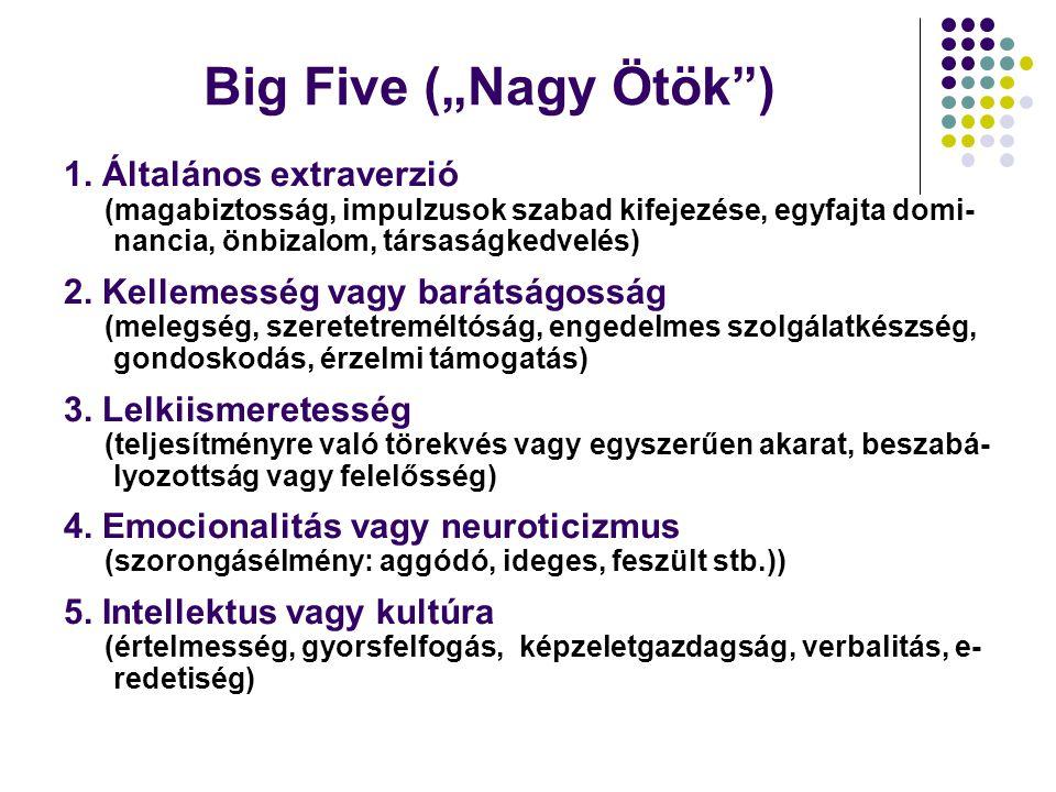 """Big Five (""""Nagy Ötök"""") 1. Általános extraverzió (magabiztosság, impulzusok szabad kifejezése, egyfajta domi- nancia, önbizalom, társaságkedvelés) 2. K"""